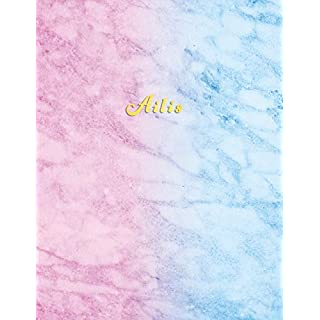 Ailis: Personalized college ruled journal for girls | Standard lined size composition exercise note book