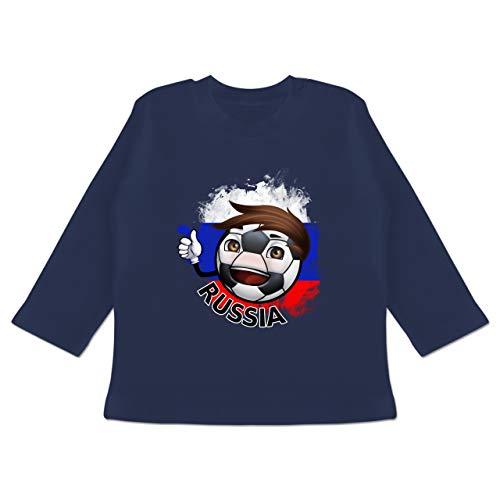 erschaft 2020 - Baby - Fußballjunge Russland - 12-18 Monate - Navy Blau - BZ11 - Baby T-Shirt Langarm ()