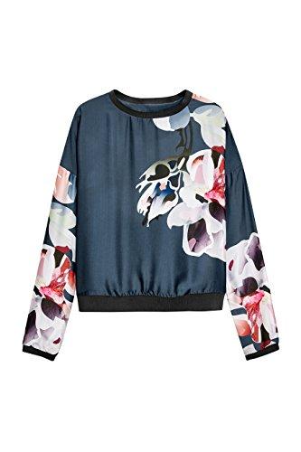 next Sweat à fleurs Standard Femme Bleu