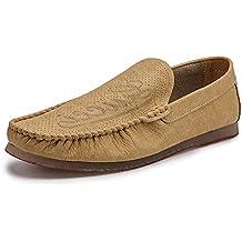 HANG Mocasines para hombres Cuero genuino Negocio Zapatillas de conducción planas Hombres Mocasines casuales