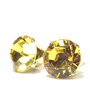Gold plated Solitaire Stud Earrings Sterling Silver made with SUNFLOWER SWAROVSKI ELEMENTS stamped 925. Earring Box.