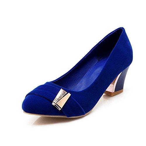 VogueZone009 Femme Rond Tire Suédé Couleur Unie à Talon Correct Chaussures Légeres Bleu