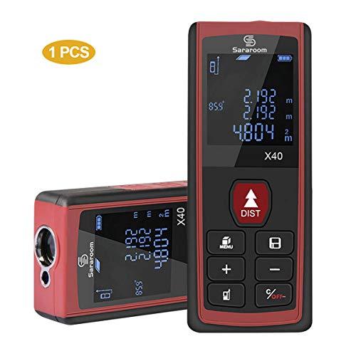 Sararoom Metro Laser HD 40m Telemetro Misuratore Laser Digitale Professionale Distanziometro Laser Distanza Portatile Con 2 Livelli a Bolla e Display Retroilluminato