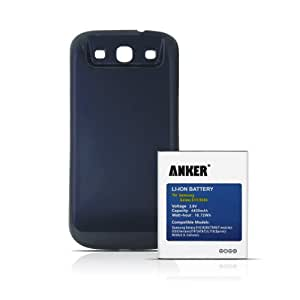 Galaxy S3 Akku+, Anker 4400mAh Power Akku mit dunkelblauem Akkufachdeckel für Samsung Galaxy SIII / Galaxy S3 / Galaxy S3 Neo / I9300 / GT-I9300 / I9305 LTE, ersetzt EB-L1G6LLU, mit NFC / Google Wallet