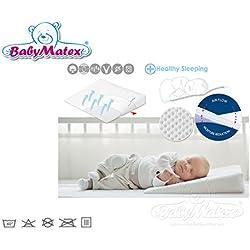 Baby Matex AEROKLIN Babykopfkissen inklusive Bezug Atmungsaktives Kopfkissen in 2 Größen AERO 3D Mesh System für eine perfekte Luftzirkulation 40 x 36 cm weiß