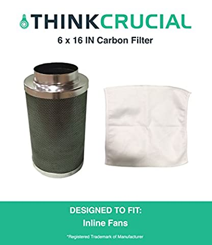 "6x16"" Carbon Inline Fan Filter & Odor Control, Part # GLFILT6M; Perfect for Grow Rooms, Cigarette Smoke, Foul Odor Emissions, Pet Dander, Plant Emissions, Allergenic Pollutants & More"