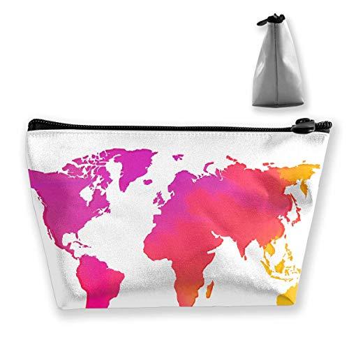 Rolling Organizer Duffel (Colorful World Map Design Women Cosmetic Bags Multifunktions-Kulturbeutel Organizer Travel Wash Lagerung (Trapez))
