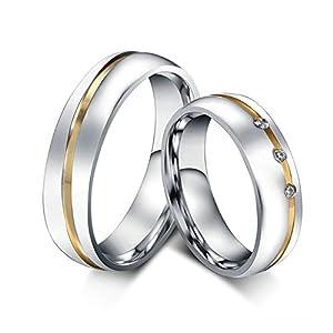 ANAZOZ Schmuck Paar Eheringe aus Edelstahl mit Zirkonia Verlobungsringe Partnerringe Gold Silber (Preis nur für 1)