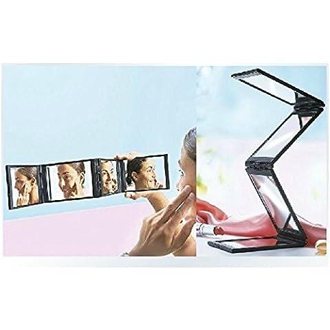 XYXY Espejo para maquillarse De múltiples funciones portable plegable espejo completo irradiando belleza princesa espejo creativo . black