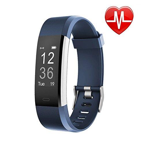 Letsfit Schrittzähler Uhr, Fitness Tracker mit Pulsmesser Schlaf-Monitor Wasserabweisend in versch. Farben, blau