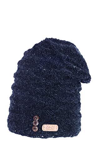 Zo-Zi Handarbeit Strickwolle Mütze mit Plüschfell/Made in Nepal - Wolle - Schwarz -