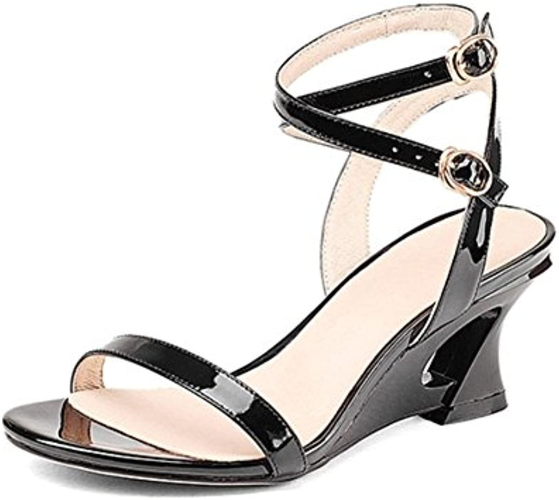 sandalias de verano pendiente femenino de las sandalias de tacón alto de las mujeres , black , US5.5 / EU36 /...