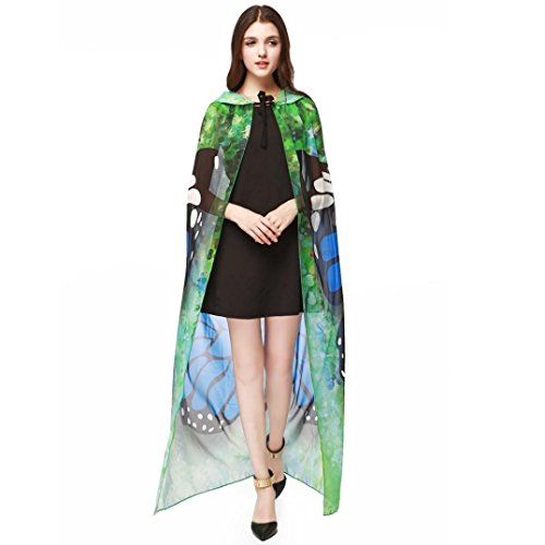 Sommerkleid Kap Schal Halloween Party 140*100CM Drucken Chiffon Schmetterlings Flügel Frauen Langes Strandkleid Pfau Schal Nymphe Pixie Fee Cosplay Kostüm (One Size, Blau) (Halloween-party-stadt)