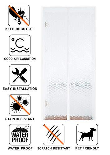 Liveinu Wärmeschutzvorhang Magnet Thermo Türvorhang Fliegengitter Panel-Isolierung Thermovorhang Wasserdicht Winddicht Klimaanlage Fliegenvorhang für Balkontür Wohnzimmer 120x210cm Weiß