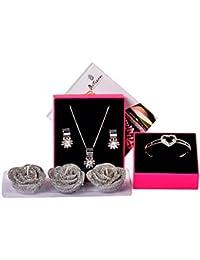 IGP Valentine Day Gift Rose Candle Set With Designer Floral Design CZ Stone Embellished Fashion Pendant Necklace...