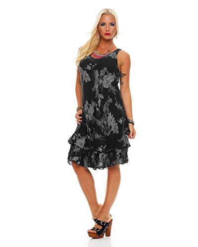 ZARMEXX Sommerkleid knielang doppellagig Baumwolle Kleid Strandkleid V-Ausschnitt floraler All-Over Print Schwarz