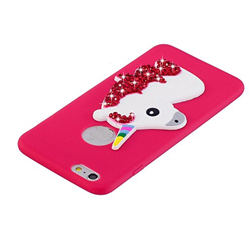 Coque iPhone 6 , Etui Housse Bling Glitter Strass Licone Motif Case Cover en Silicone Gel TPU Flexible Souple Housse de Protection pour Apple iPhone 6 / 6S (4.7 pouces) Enveloppe Coque iPhone 6S Soft  Rouge