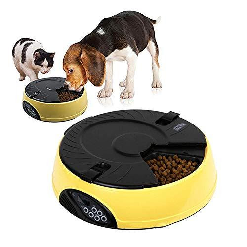 DJLOOKK Hunde Automatisierte Futterspender Automatischer Futterautomat für 6 Personen mit programmierbarer Zeitschaltuhr Geeignet für Katzen und Hunde,Yellow