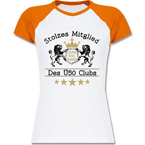 Geburtstag - 50. Geburtstag Stolzes Mitglied Des Ü50 Clubs - Zweifarbiges Baseballshirt/Raglan T-Shirt für Damen Weiß/Orange
