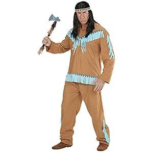 WIDMANN 06682?Adultos Disfraz Indios, Abrigo, Pantalones y Cinta, Color marrón, tamaño M