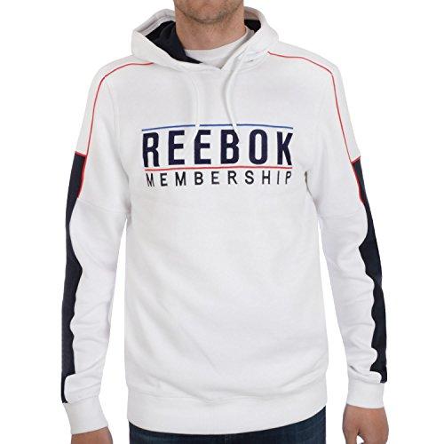 Reebok adesione Maglione con cappuccio da uomo White Small