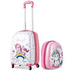 Idea Regalo - COSTWAY Set di Valigia Trolley per Bambini + Zaino, Bagaglio a Mano, con Ruote Girevoli a 360 °, Perfetto per Viaggi e Scuola, Rosa Unicorno