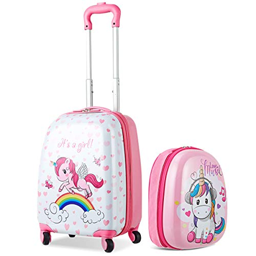 COSTWAY Set di 2 Pezzi Valigia per Bambini con Maniglia + Zaino Bagaglio a Mano, con Ruote girevoli a 360 °, Rosa Unicorno