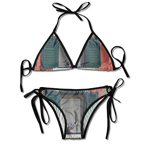 Women's Printing Bikini,with Medieval Style Shutters Sexy Bikini 2 Pieces -