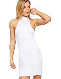 WearAll Womens Strappy Stretch Bodycon Short Sleeveless Turtleneck Top Mini Dress 8-14