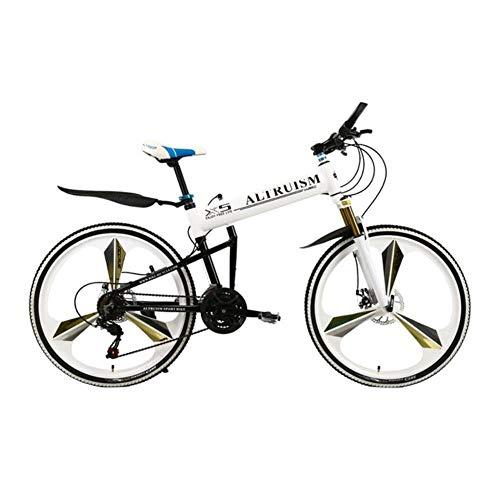 MZLJL montaña de la Bicicleta, X5 Pro Frame 21 Bicicleta Plegable Velocidad de la Bicicleta de montaña de 26 Pulgadas Frenos de Disco Hombre Alto MTB, Blancos, China