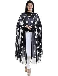 Dupatta Bazaar Women's Black Chiffon Dupatta With White Embroidery.