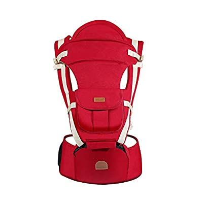 QUEEN ROSE Hipseat Baby Carrier Backpack 6 in 1 Carry Ways Carrier Sling, Red