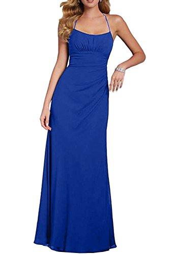 Missdressy Klassisch A-Linie Lang Neckholder Chiffon Spitze Hochzeitskleider Abendkleider Brautmutterkleider Royalblau