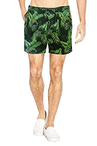 Brave Soul Mens Assorted Swim Shorts Black/Green Leaf Print - X Large