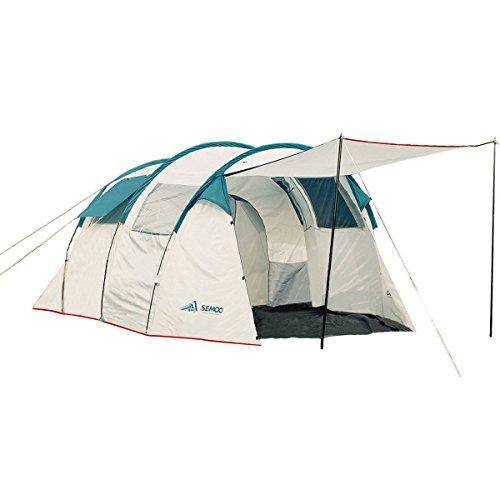 Semoo Tunnelzelt für 5-6 Personen mit 5000 mm Wassersäule,Familienzelt,Campingzelt mit Zwei Schlafkabinen 220 x 260 x 180 cm,in grau oder weiß,Für Outdoor, zum Campen oder Reisen