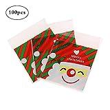 LAAT 100pz Natale Sacchettini Plastica Alimentari Candy Bag Borse Caramelle Sacchetto di Tenuta del Partito Biscotto Cookie Borse Patterns autoadesiva Regalo di Natale Pacchetto 10x10x3cm (No Food)
