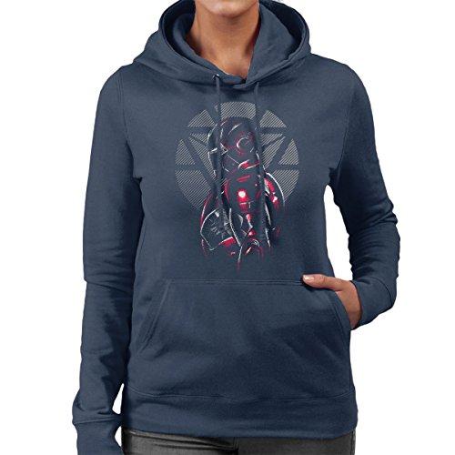Marvels Iron Man Profile Women's Hooded Sweatshirt Navy Blue