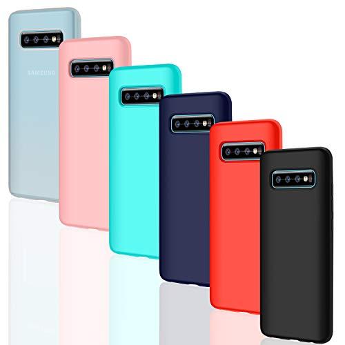 Leathlux 6 × Custodia Galaxy S10 Plus / S10+ Cover Silicone Sottile Morbido TPU Custodie Protettivo Flessibile Cover per Samsung Galaxy S10 Plus / S10+ Rosa, Verde, Rosso, Blu Scuro, Traslucido, Nero