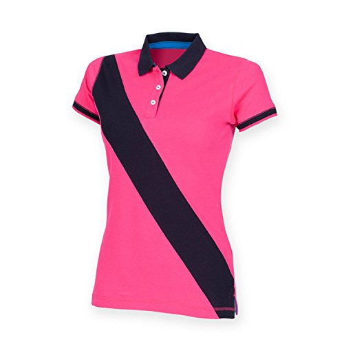 Front Row Femme-Polo avec bande diagonale FR213 House - Bright Pink/Navy