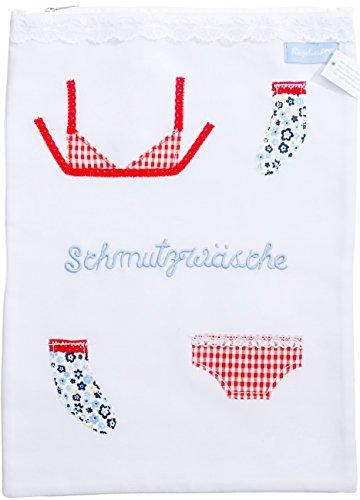 Sac pour le linge / sac à linge avec la broderie « Schmutzwäsche » -linge sale - et des applications décoratives 100 % coton du label allemand Ringelsuse