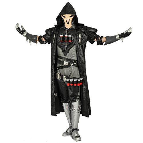 Pandacos Reaper Kostüm Cosplay Deluxe Costume 7er Set Gabriel Reyes Game Zubehör für Halloween, Karneval und Fasching