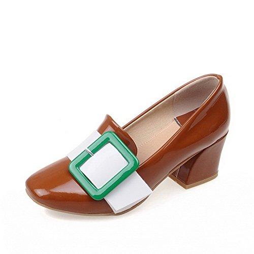 atisch Zehe Mittler Absatz Lackleder Gemischte Farbe Pumps Schuhe, Braun, 38 (Katalog Bestellen)