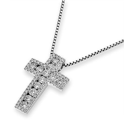 18K 750 Oro bianco con diamante croce ciondolo su 925 argento sterling collana di 40cm (0.63 cttw, G-H colore, VS2-SI1Chiarezza) - 18k Crocifisso