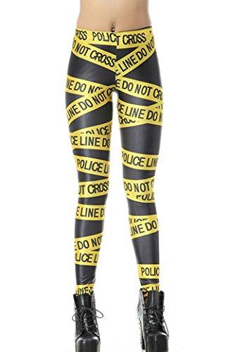 Aivtalk Damen Leggings Printed Stretch Slim Fit Hose Blumenmuster Polyester Elastische Hosen Pencil Tight Pants Größe M Damenhose Taille 58-84cm Gelb Police Tape