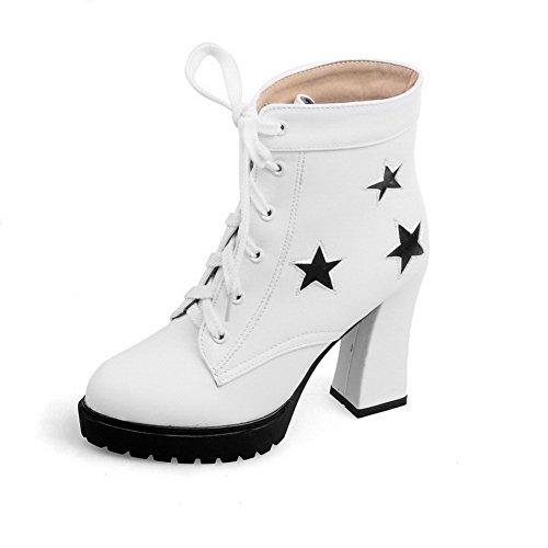 AllhqFashion Damen Rund Zehe Gemischte Farbe Niedrig-Spitze Hoher Absatz Stiefel, Weiß, 35