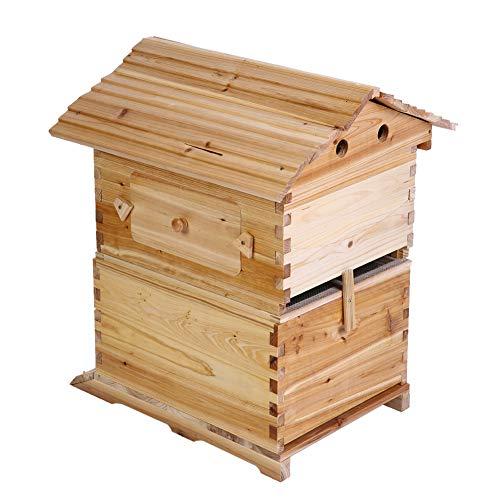 Bienenzucht Bruthaus Box, Deluxe Super Bienenzucht Holzhaus Bienenstock Boxen für 7 Auto Honig Bienenstock Frames mit Gaze Abdeckung, Bienenzucht Werkzeuge für Anfänger Anfänger - Gaze-abdeckung