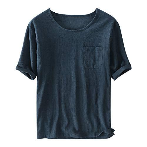 Damen Basic Crewneck Tee (Baumwollshirt Dasongff Herren Leinenshirt Casual T-Shirt Weiche Rundhals Kurzarmshirt Basic Tee Lose Sommertop Hemd Männer Freizeit Shirt)