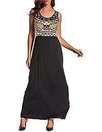Luojida Vestito a Fiori Donna Abito Maxi Vestiti con Rouches Dress di Senza  Maniche Eleganti Vestito ce915be0995