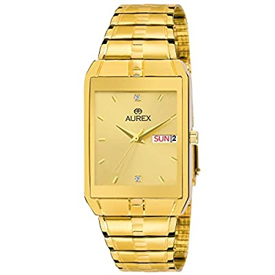 Aurex Analouge Golden Day & Date Dial 18 K Gold Pleating Watch Water Resistant Golden Color Strap Watches for Mens/Boys (AX-GSQ9151-GLG)