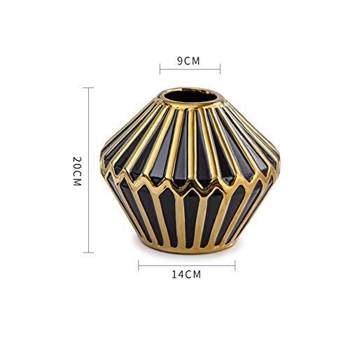 Keramik-Vase Moderne Hauszubehör handgefertigte Handwerke High-Grad-Gold-geplatzte Vase-Dekoration,B